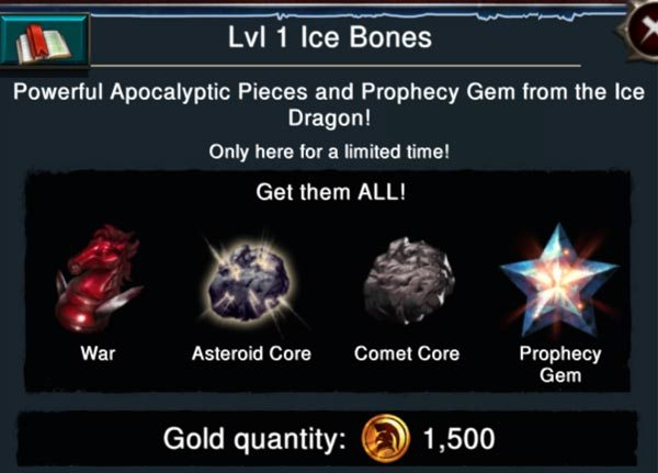 Ice Bones Tile after killing lvl. 1 Ice Dragon.